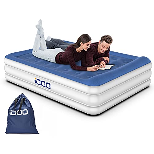 iDOO King Size Air Bed, Inflatable bed with Integrated Pillow, Comfortable Air Mattress with Built-in Pump, 3 Mins Inflation/Deflation Blow Up Bed, Suit for Home Camping 203x152x46cm, 295kg MAX