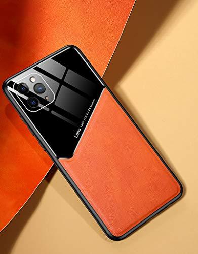 HHZY Funda para iPhone 12 Carcasa Magnética de Piel Sintética Premium Bumper de Suave TPU A Anti Choque Ultra Fina Negocios Back Cover Soporte El Montaje de Coche Magnético,Marrón,11 Pro