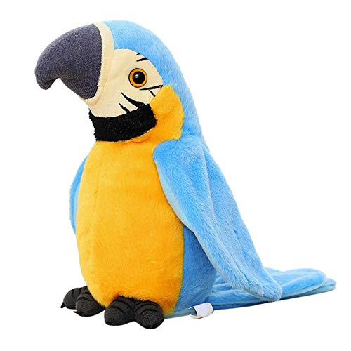Talking Parrot Animal Plush Toy Repeat What You Say Stuffed Electronic Record Animated Bird Shake Wings Speaking Parrot Pet Plush Interactive Toys for Kids Boys Girls Christmas Birthday Gift (Blue)