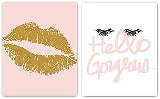 Designs by Maria Inc. Set of 2 Fashionista Prints (Unframed) Lips & Lashes Wall Art Makeup Bathroom Decor (8x10) (Option 1)