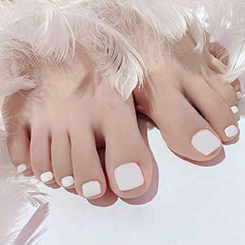 Handcess Uñas cuadradas mate para dedos de los pies, cortas, blancas, falsas, para uñas, cubierta completa, puntas artificiales para uñas para mujeres y niñas (24 piezas)
