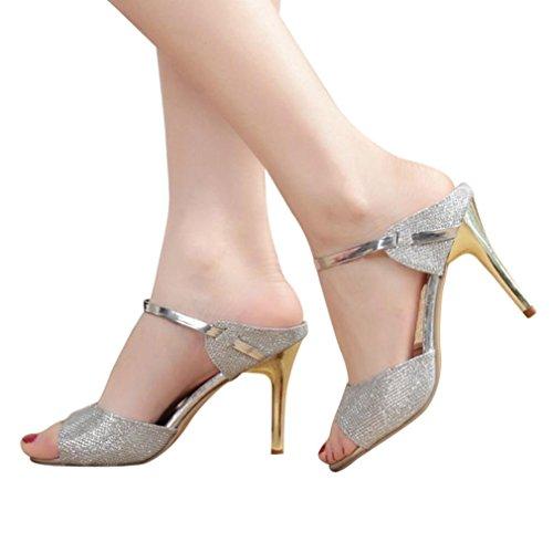 ZARLLE Mujer Verano Moda Sandalias Tobillo TacóN Alto Fiesta Zapatos Abiertos Sandalias con CuñA Peep Toe Cabeza Pescado Zapatos De TacóN Alto Chancletas Zapatillas (41, Plata)