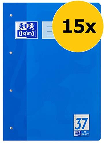 Oxford Schule Schulheft A4, liniert, gelocht & perforiert, 16 Blatt, blau, 15er Pack