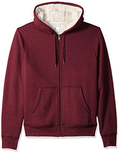 Amazon Essentials Men's Sherpa Lined Full-Zip Hooded Fleece Sweatshirt, Burgundy, Small