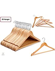 Multi Functional Solid Wooden Suit Hangers(20), Coat Hangers, Natural Finish with 2 Shoulder Notches 360 Degree Swivel Hook (20)