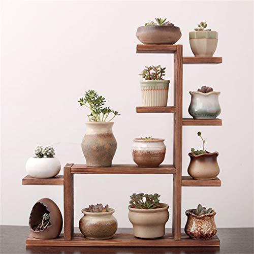 Plantenstandaard, massief hout meerlagig bloem bekken stand geschikt voor bureaublad vensterbank decoratie woonkamer