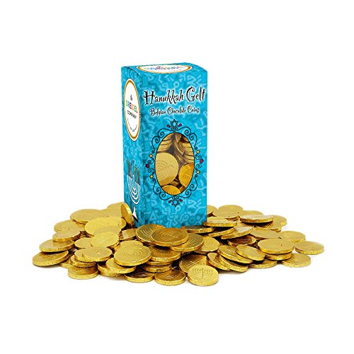 Hanukkah Chocolate Gelt - Nut-Free - Belgian Milk Chocolate Coins - 1LB - Over 100 Coins - OU D Kosher Chanukah Gelt