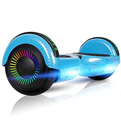 "LIEAGLE Hoverboard, 6.5"" Self Balancing Scooter Hover Board with Bluetooth UL2272 Certified Wheels LED Lights for Kids Adults(A02 Carbon Fiber Blue)"