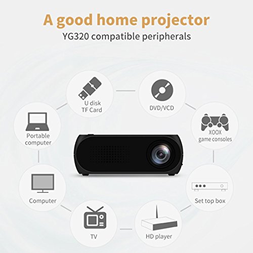 Portbale Projector, 1080P Multimedia Home Theater Video Projector Support HDMI USB SD AV VGA for Home Video Cinema, TV, Laptops, Smartphones, Games