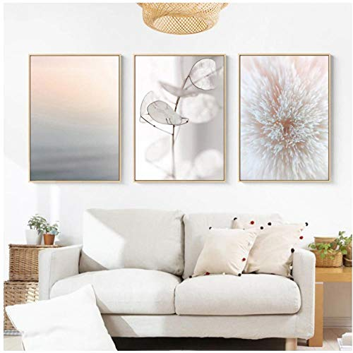 YQQICC Color pastel Blush Pink Canvas Painting Botanical Nature Carteles escandinavos Decoración nórdica Cuadros de pared para sala de estar - 42x60cmx3 Sin marco