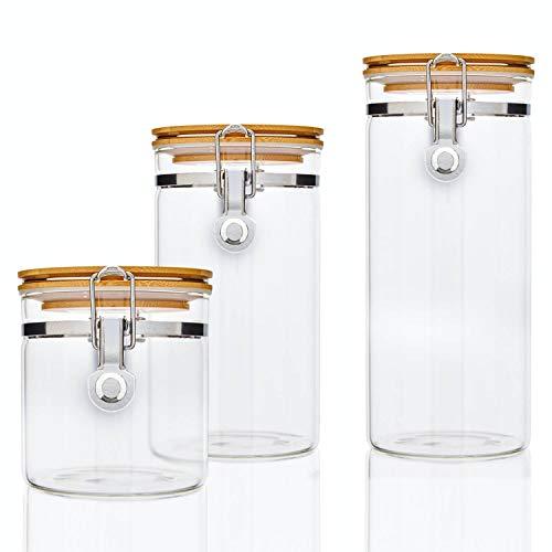 bambuswald© 3er Set Vorratsgläser mit Deckel aus 100% Bambus & luftdichten Metallverschluss in 550ml, 900ml, 1250ml : Vorratsdosen Borosilikatglas Glas-Behälter Frischhaltedosen Glasdose Aufbewahrung