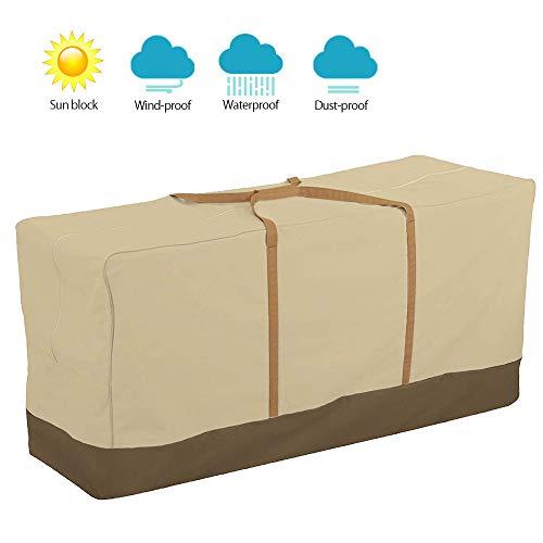 SurfMall 600D Bolsa de Almacenamiento de Muebles de jardín Impermeable para cojín, Tela Oxford con Cremallera a Prueba de Herrumbre, Organizadores con Asas Resistentes (152x71x51 cm)