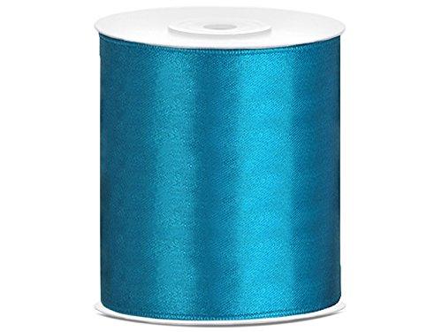 SiDeSo® Satinband 25m x 100mm viele Farben Hochzeit Dekoband Geschenkband Antennenband Schleifenband (türkis)