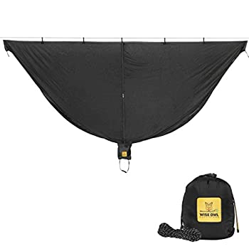 Wise Owl Outfitters Hammock Bug Net - 11 x 4.5 ft SnugNet Waterproof Camping Hammock Mosquito Netting w/Double Sided Zipper Essential Camping Gear & Accessories Black