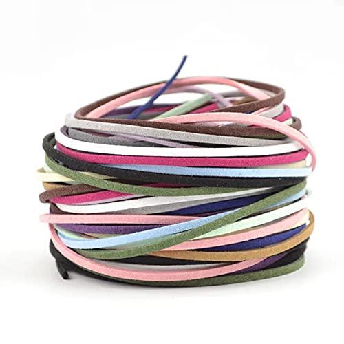 50 Piezas Cuerda De Cuero,Cuero Cordón Pulsera Plana,Cordones Cuero Para Joyería,Para Fabricación De Pulsera Collar Abalorios Manualidades Bisutería