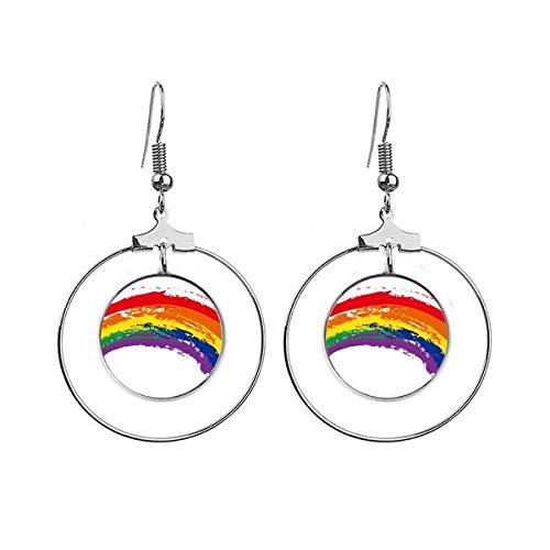 LGBT Regenboog Gay Lesbische Transgender Oorbellen Dangle Hoop Sieraden Drop Cirkel
