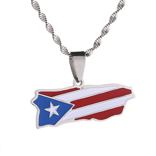 Stainless Steel Puerto Rico Map Flag Pendant Necklace PR Puerto Ricans Jewelry (Silver Color)