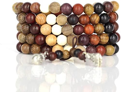 Branelli di preghiera Islam Feng Shui Braccialetto per perle 108 Braccialetti multicolor per perline da donna Tibetano Buddista Buddista Buddha cinese Knot Braccialetto Elastico per uomo Donna Coppie