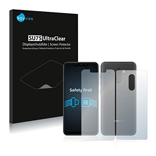 savvies 18-Pezzi Pellicola Protettiva Compatibile con Xiaomi Pocophone F1 (Anteriore + Posteriore) Protezione Schermo Trasparente