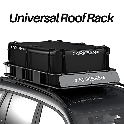 ARKSEN 64' Universal Black Roof Rack Cargo Extension with Soft-Shell Waterproof Cargo Bag Car Top...
