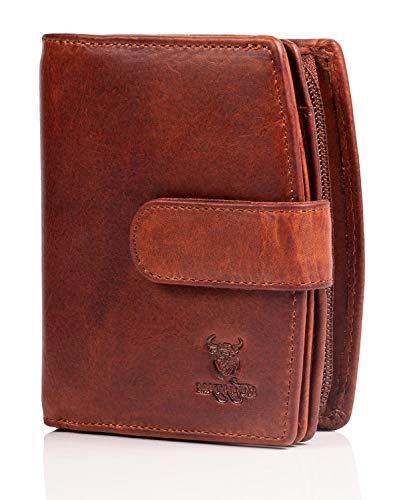 MATADOR Damen Geldbörse aus Echt Leder mit TÜV Geprüfter RFID/NFC Schutz Portemonnaie in braunem Antik Vintage Design, Geldbeutel inklusive Geschenkbox