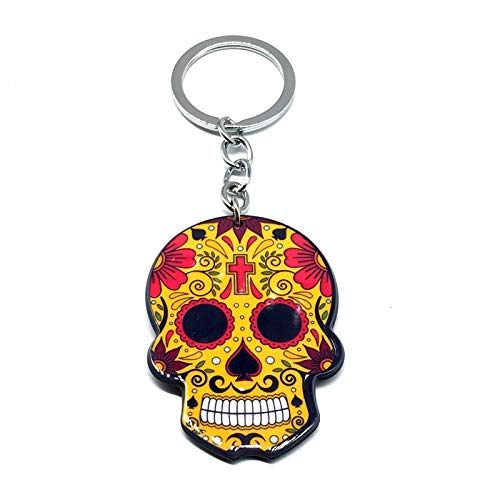 XMCF Key Fob Keychains Sugary-sweet Whimsical Skull Keychain Keyring Celebrate Mexican Day of the Dead Halloween Acrylic Sugar Skull Key Chain (Color : 9)