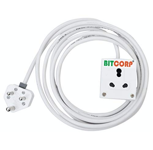 BITCORP Extension Board 1 Single Socket 15A 16A 2 Meter 2.5 mm Long Wire Cable Cord With 15 16 Amp Power Plug (Polycarbonate)(White)