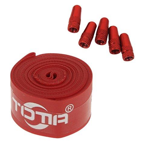 sharprepublic 5 Tapas de Válvula de Aire Presta para Bicicleta Rojo + Protector de Neumático de Nailon de Presión