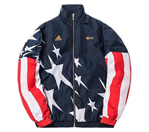 Adidas x Kith USA - Giacca a vento in tessuto edizione limitata 2018, da uomo Blu Navy, Bianco, Rosso, Oro L