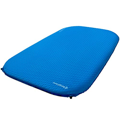 KingCamp Camping Double Sleeping Pad Foam Mat Mattress - Self Inflating Thick Pad with Carry Bag, Suitable for Traveling Family Outdoor Activities (Blue-Deluxe Double)