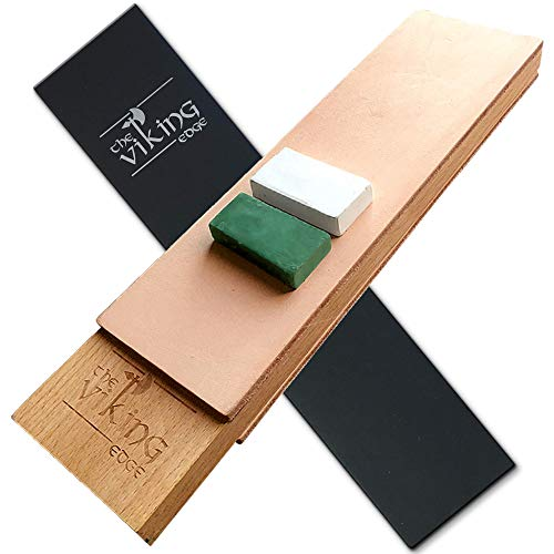 """Large Two-Sided Double Leather Strop – 3""""x10″ – 1/8″ Thick Leather – Knife, Razor, Tool Sharpening with Compound"""