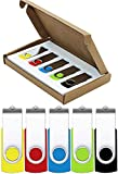 Flash Drive 64GB USB Flash Drive 5 Pack USB 2.0 Thumb Drive Jump Drive Pen Drive Bulk Memory Sticks Zip Drives Swivel Design Yellow/Red/Blue/Green/Black (5 Pcs Mixed Color)