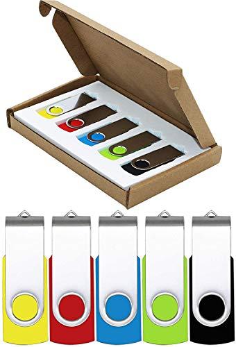 Flash Drive 64GB USB Flash Drive 5 Pack USB 2.0 Thumb Drive Jump Drive Pen Drive Bulk Memory Sticks Zip Drives Swivel…