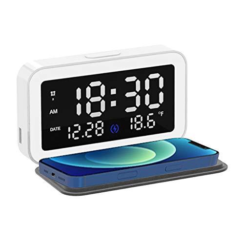 LOULE Despertador digital LED con carga inalámbrica, reloj despertador y cargador de doble uso, uso multifuncional, adecuado para dormitorio, sala de estar, oficina