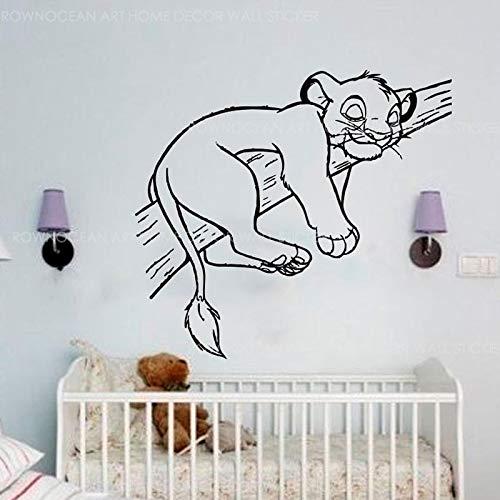 HNXDP Le Grand lion Sommeil Sticker Mural Vinyle Décoration de La Maison Enfants Enfant Garçons Chambre Chambre Pépinière Bébé Stickers Muraux Peintures Murales A586 62x57 cm