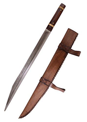 Battle-Merchant Sax von Beagnoth mit Scheide aus Leder - Wikingerschwert - Thames Scramasax - Seax - Wikingersax echt Erwachsene
