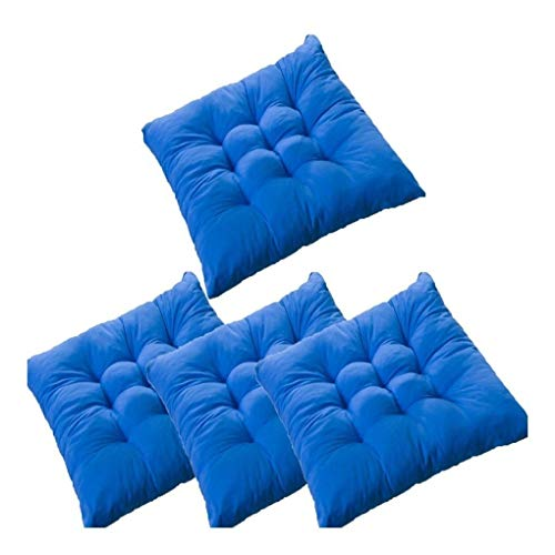 Zceras Set of 4 Dining Chair Pad Cushion with Ties, Chair Pads Square Cotton Chair Cushion with Ties Reversible Polyeste Soft 16' x 16' for Dining Chairs, Office Chairs (Color : Blue)