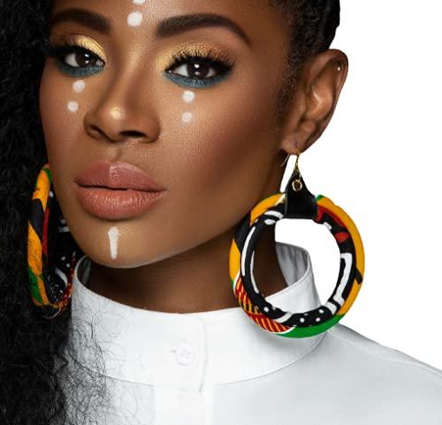 Red Black Yellow Green African Hoop Earrings Earri Kente Fashion Print Max 87% OFF