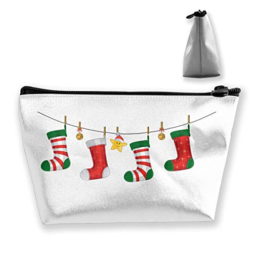 Trousse de maquillage portable avec fermeture éclair et chaussettes de Noël