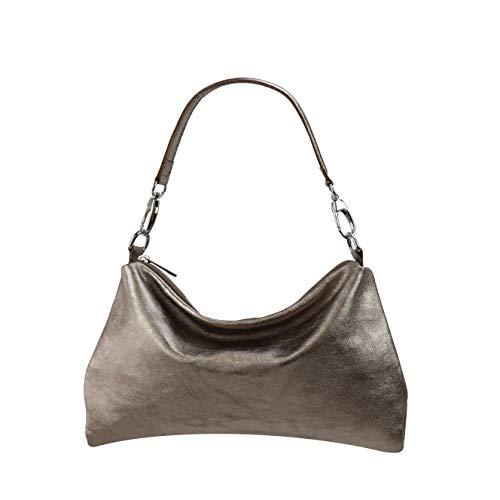SH Leder Echtleder Umhängetasche mittelgroße schultertasche Abendtasche Clutch Crossbody Bag Messenger Handtasche mit Reißverschluss 33x20cm Lovelin G393 (Bronze Metallic)