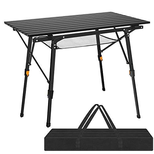 Teenza® 91 x 52 cm klappbarer Campingtisch aus Aluminium für Camping oder Garten – höhenverstellbar (2-teilige Tragetasche) schwarz