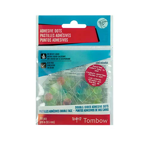 Tombow 52139 Adhesive Dots, Assorted Colors, 100-Pieces. Quick, Clean, and Easy to Use for an Instant, Permanent Bond