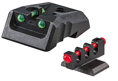 Big Save! FUSION 1911 Fixed Green/Red Fiber Optic Sight Set, Flat Front Sight Base