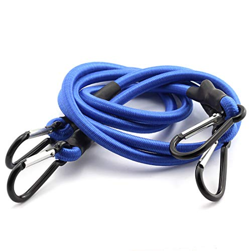 HJ Garden 2pcs 8mm x 90cm Bungee Cord with Carabiner Hook Heavy Duty Straps 2 Climbing Hooks Strong Elastic Rope Shock Cord Tie Down Set Blue