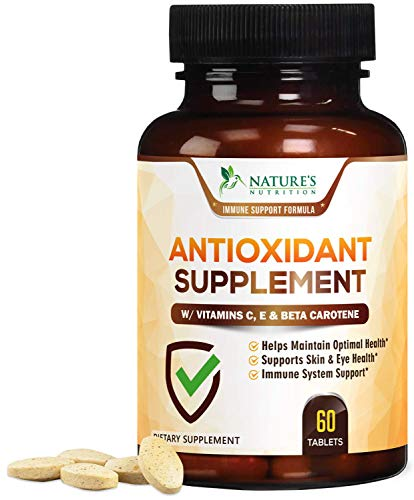 Super Antioxidants Supplement Tablets, Powerful Antioxidant Formula with Vitamins A, C, E, Selenium, Made in USA, Natural Immune Support and Radical Defense for Women and Men - 60 Tablets