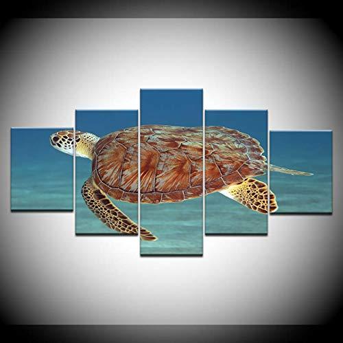 Leinwand HD-Drucke Bilder Wohnzimmer Wandkunst 5 Stück Meeresschildkröte Gemälde Unterwasser Welt Poster Home Decor Modular 200x100 cm