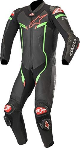 Alpinestars Men's GP PRO V2 1 Piece Leather Motorcycle Riding Suit (Tech Air Compatible), Black/Bright Green, 54