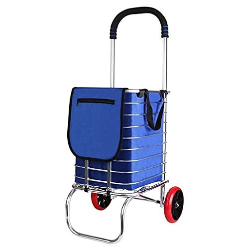 Carrito de Compras portátil Carrito de Compras Plegable Carrito de Compras Plegable con Ruedas giratorias para escaleras y Bolsa de Lona Impermeable extraíble