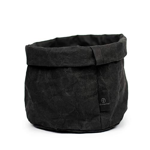 stil-macher Designer Krempelkorb - Gr. M - | Aufbewahrungskorb aus waschbarem Papier | Lederoptik | VEGAN | Deko-Box | Geschenkbox | Übertopf (Schwarz, Rund)