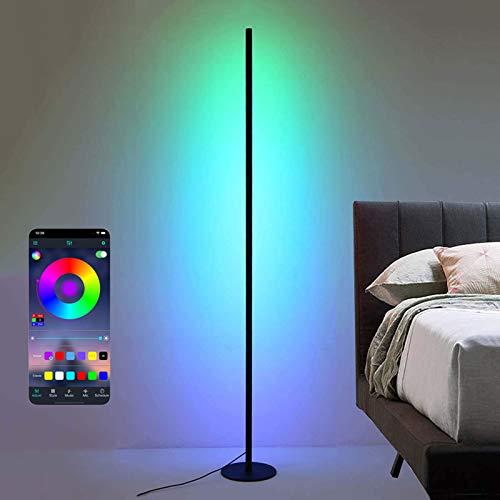 Bueuwe Lámpara de pie LED Lámpara de pie RGB Regulable y temperaturas de Color, Estilo Minimalista Moderno, lámpara de Ambiente Interior para Sala de Estar, Dormitorio, Sala de Juegos,18w,Mobile App